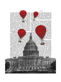 US Capitol Building and Red Hot Air Balloons Posters by  Fab Funky