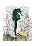 SeaHorse and Sea Urchins Art by  Fab Funky
