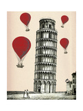 Tower of Pisa and Red Hot Air Balloons Lámina por Fab Funky