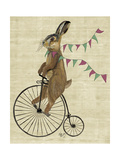 Rabbit on Penny Farthing Affiches par  Fab Funky