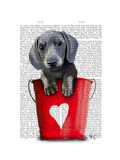 Buckets of Love Dachshund Puppy Prints by  Fab Funky