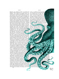 Octopus Green Half Premium Giclee Print by  Fab Funky