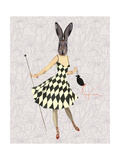 Rabbit in Black White Dress Poster by  Fab Funky