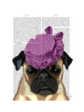 Pug with Vintage Purple Hat Art by  Fab Funky