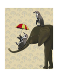 Elephant and Penguins Posters by  Fab Funky