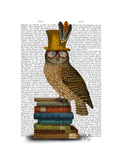 Owl on Books Poster by  Fab Funky