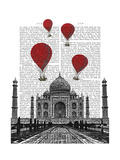 Taj Mahal and Red Hot Air Balloons Art by  Fab Funky