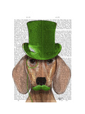 Dachshund with Green Top Hat and Moustache Premium Giclee Print by  Fab Funky