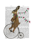 Rabbit on Penny Farthing Premium Giclee Print by  Fab Funky