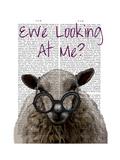 Ewe Looking at Me DeNiro Sheep Prints by  Fab Funky