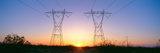 Sunset on Electrical Transmission Towers Near Lancaster, California Photographic Print by Panoramic Images
