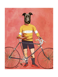 Greyhound Cyclist Premium Giclee Print by  Fab Funky