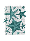 Green Starfish Collection Premium Giclee Print by  Fab Funky