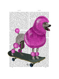 Pink Poodle and Skateboard Premium Giclee Print by  Fab Funky