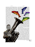 Tuba and Fish Premium Giclee Print by  Fab Funky