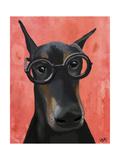 Doberman with Glasses Arte por  Fab Funky