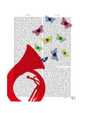 Tuba with Butterflies Posters by  Fab Funky
