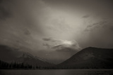View of Mount Rundle at Dusk with Storm Clouds from Vermillion Lakes in Banff, Canada Photographic Print by Keith Barraclough
