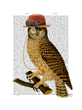 Owl with Steampunk Style Bowler Hat Posters by  Fab Funky