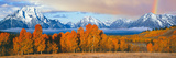 Autumn Trees with Mountain Range in the Background Photographic Print by Panoramic Images