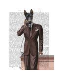 Doberman on Phone Premium Giclee Print by  Fab Funky