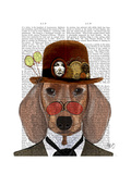 Dachshund with Steampunk Bowler Hat Prints by  Fab Funky