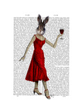 Rabbit in Red Dress Premium Giclee Print by  Fab Funky