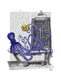 Octopus in Bath Premium Giclee Print by  Fab Funky