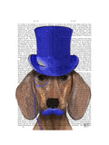Dachshund with Blue Top Hat and Blue Moustache Premium Giclee Print by  Fab Funky