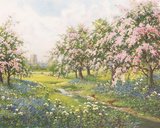 Apple Blossom and Bluebells Giclee Print by John Halford Ross
