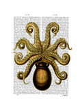 Vintage Yellow Octopus Underside Premium Giclee Print by  Fab Funky