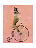 Greyhound on Black Penny Farthing Art by  Fab Funky