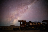 Einstein's Theory of General Relativity Written on an Old Locomotive. the Milky Way Overhead Photographic Print by Jordi Busque