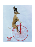 Greyhound on Red Penny Farthing Premium Giclee Print by  Fab Funky