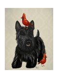 Scottie Dog and Red Birds Premium Giclee Print by  Fab Funky