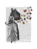 Rabbit and Butterfly Parasol Poster by  Fab Funky