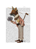 Fox in Boater Poster by  Fab Funky
