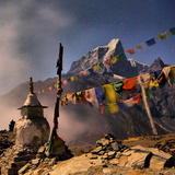 A Stupa and Prayer Flags Overlooking the Village of Dingboche with Taboche Peak in the Background Photographic Print by Aaron Huey