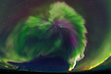 The Northrn Lights. Panoramic Projection of a Colorful Strong Aurora Outburst Fotografisk tryk af Babak Tafreshi