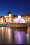 Fountain with Art Museum in the Background, National Gallery, Trafalgar Square, London, England Photographic Print by Green Light Collection
