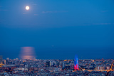 Moonrise and the City of Barcelona, Seen from the Rovira Lookout Photographic Print by Jordi Busque