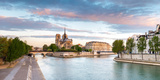 Notre Dame Cathedral on the Banks of the Seine River at Sunrise, Paris, Ile-De-France, France Photographic Print by Panoramic Images