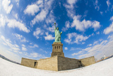 Fisheye Lens View of the Statue of Liberty in New York During the Winter with Snow Photographic Print by Mike Theiss