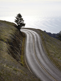 A Road in Mount Tamalpais State Park with a View of the Pacific Ocean in the Distance Photographic Print by Keith Barraclough