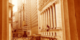 This Is a Sepiatone View Looking at the Exterior of the New York Stock Exchange on Wall Street Photographic Print by Panoramic Images