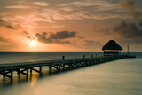 Pier with Palapa at Sunrise, Ambergris Caye, Belize Photographic Print by Green Light Collection