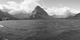 Grayscale of Lake Sherbourne, Many Glaciers, Glacier National Park, Montana Photographic Print by Panoramic Images