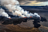 Lava and Plumes from the Holuhraun Fissure by the Bardarbunga Volcano, Iceland. Sept. 1, 2014 Photographic Print by Green Light Collection
