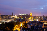 High Angle View of a City at Dusk, Edinburgh, Scotland Photographic Print by Green Light Collection