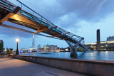 Low Angle View of Millennium Bridge, Thames River, Southwark, London, England Photographic Print by Green Light Collection